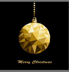 Origami style gold christmas toy isolated vector