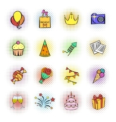 Party icons and celebration icons set vector