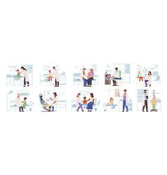 pediatric set family healthcare medical care icon vector image