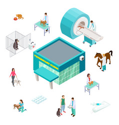 pet care concept isometric veterinary clinic vector image