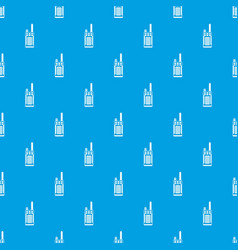 Portable handheld radio pattern seamless blue vector