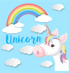 poster design with unicorn and blue sky vector image
