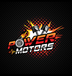 power motor logo with piston and turbochargerweb vector image