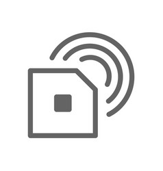 radio frequency identification chip line icon vector image