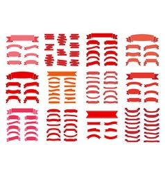 Red ribbon banners blank big set vector image