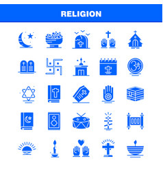 Religion solid glyph icons set for infographics vector