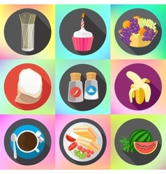 restaurant food ingredients fruits icons vector image
