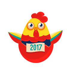 Rooster cartoon character hatching from the egg vector