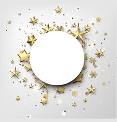 round winter background with stars and snowflakes vector image