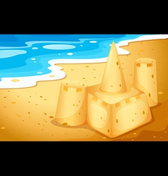 Sandcastle on beach vector