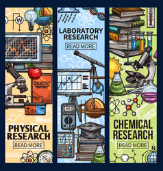 science physical chemical and laboratory research vector image