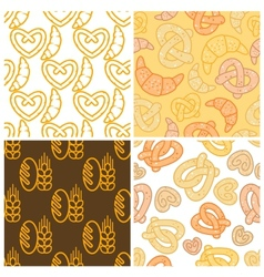 seamless assorted bakery background pattern vector image