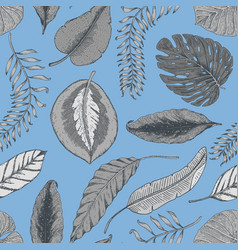 seamless vintage tropical pattern with leaves hand vector image