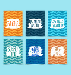 Set abstract cards for summer time theme vector