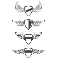 Set emblem templates with wings vector