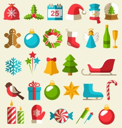Set of Christmas Flat Icons Isolated on Beige vector image