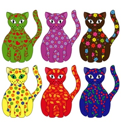 Set of six stylized cats vector