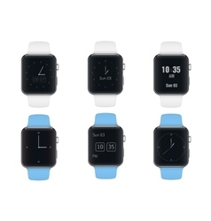 Set of sport electronic smart watches with vector image