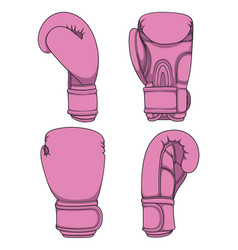 set of with pink boxing gloves vector image