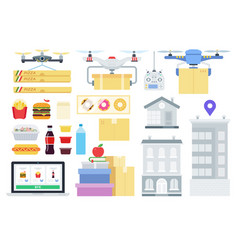 set quadcopter and drone flat vector image