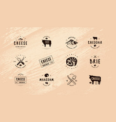 set stamp and label for box cheese vector image