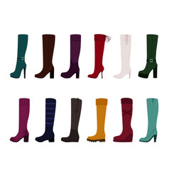 set women boots on white background vector image