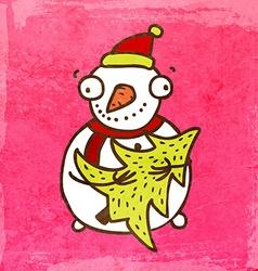 snowman with christmas tree cartoon vector image