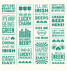 st patricks day set funny text designs vector image