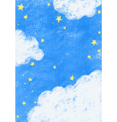 Star on night sky with cloud hand drawing vector