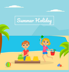 summer holliday banner template with cute boy and vector image
