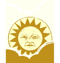 Sun Face and Clouds vector image