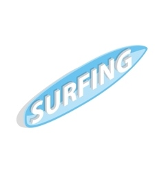 Surfing word on a surfboard icon vector image