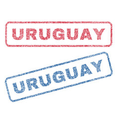 Uruguay textile stamps vector