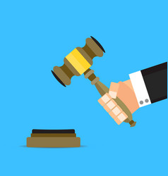 verdict judge with hammer flat cartoon vector image