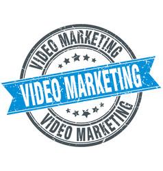 Video marketing round grunge ribbon stamp vector