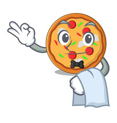 waiter pizza mascot cartoon style vector image