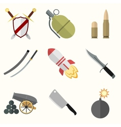 Weapon icon set vector image