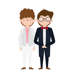 wedding groom men character cartoon vector image