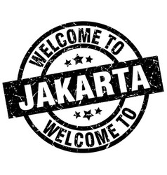 welcome to jakarta black stamp vector image