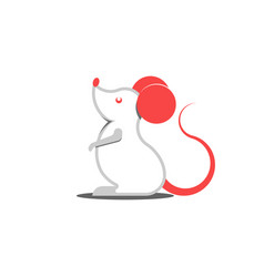 white rat logo with red ears cartoon character vector image