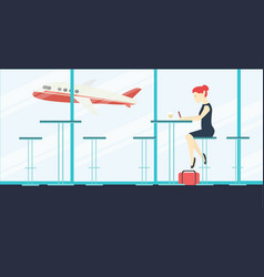 Woman sitting and waiting in airport coffee vector