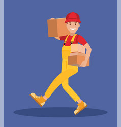 young courier man with parcels in his hands vector image