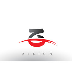 Z brush logo letters with red and black swoosh vector