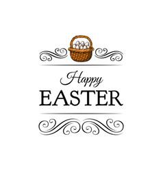 basket full of easter eggs decoration element vector image vector image