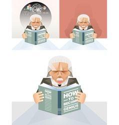 Old man reading a book Education Concept vector image vector image
