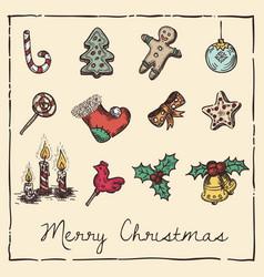 retro christmas invitation card vector image vector image
