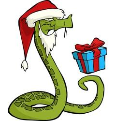 santa snake vector image vector image