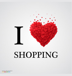 i love shopping heart sign vector image