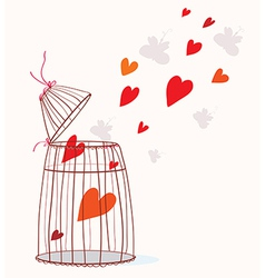 Love card with cage and heart vector image vector image