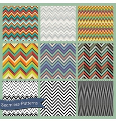 Seamless retro geometric Zigzag background set vector image vector image